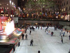 The Rink at Rockefeller Center at night.