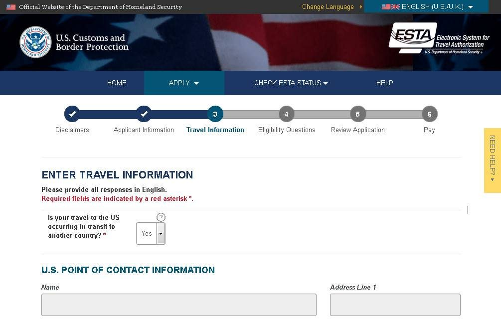 Screenshot of the official website for ESTA.