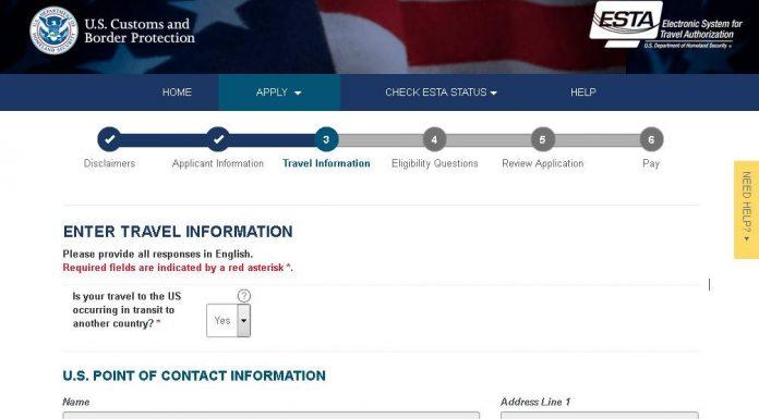 Screenshot of the official website for ESTA.
